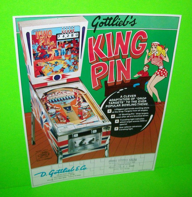 KING PIN By GOTTLIEB 1973 ORIGINAL FLIPPER PINBALL MACHINE PROMO SALES FLYER #GottliebKingPin #PinballFlyer