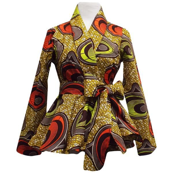 Diola African Print Peplum Blazer (Tan/Green)
