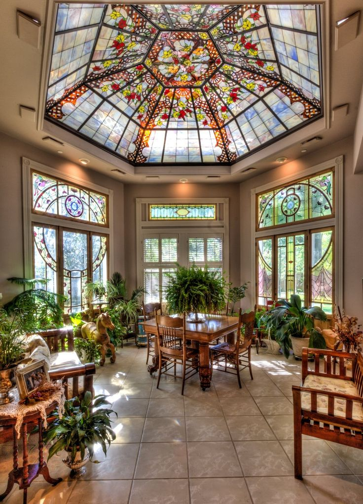 Solarium with stained glass dome ceiling. WANT!!!