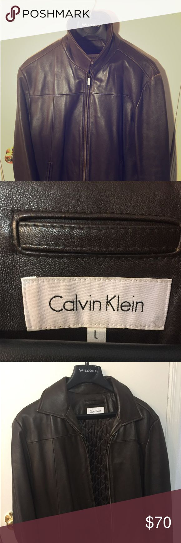 Brown Calvin Klein Leather Jacket (Open to offers) All leather, brown, soft, Calvin Klein Jacket. Minor scratches on left and right shoulder (barely noticeable). Open to offers and bundles. Calvin Klein Jackets & Coats Bomber & Varsity