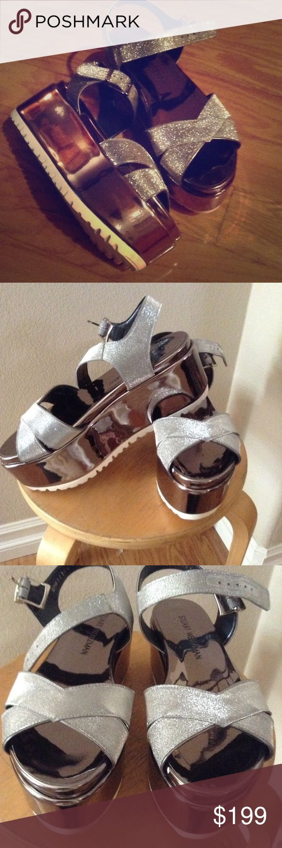Stuart Weitzman cross patch platform pewter sandal Not for the shy girl glitter wedge metallic slick platforms thick traction white rubber sole Stuart Weitzman Shoes Platforms