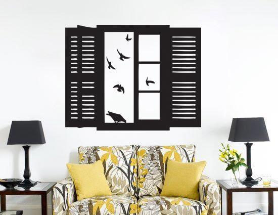 Birds flying into Window  Vinyl Wall Art Decal by lapoonstudio, $34.99