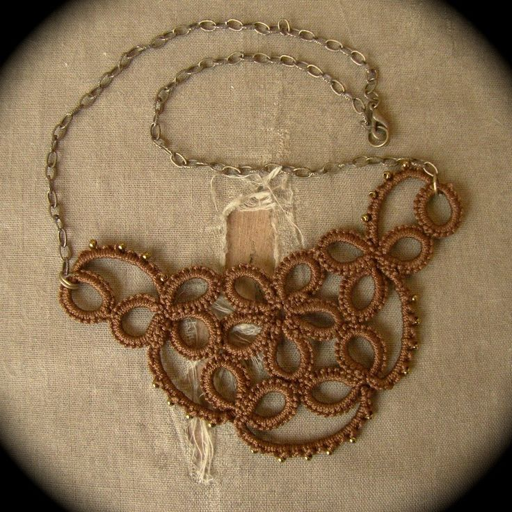 Tatted Lace Necklace - Studded Flower - Sepia Edition. $35.00, via Etsy.