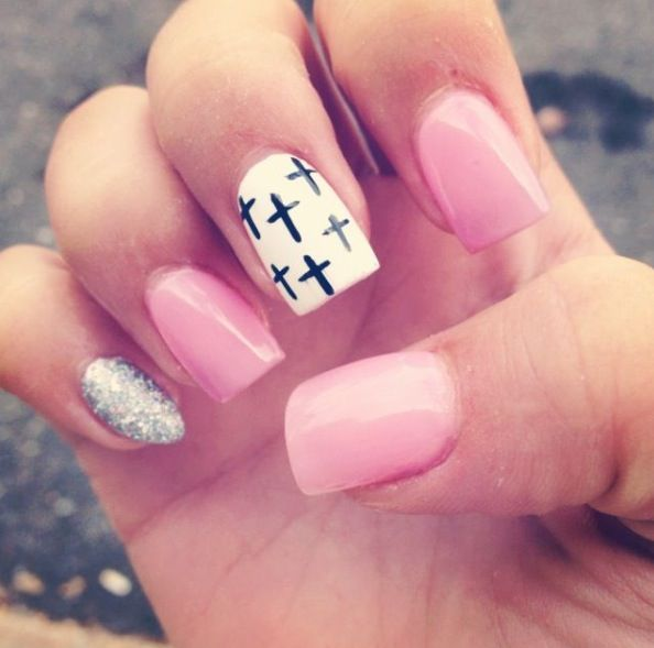 this but the cross on the ring finger and no sparkles cute I wish my nails were good but whenever Urey they don't even look the same!!