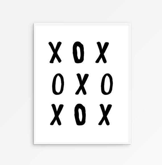 XO Poster, XOXO Print, XO Art Print, Tic Tac Toe Printable, Scandinavian Poster, Affiche Scandinave, Minimalist Poster, nursery decor, love