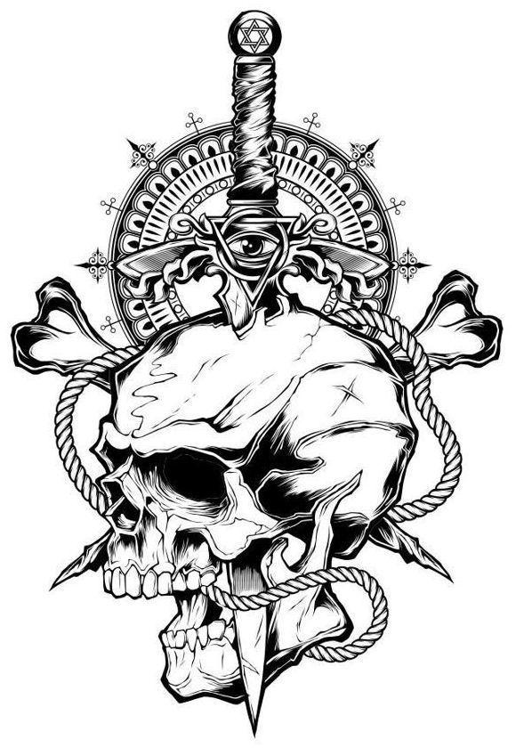 Картинки кинжал и череп