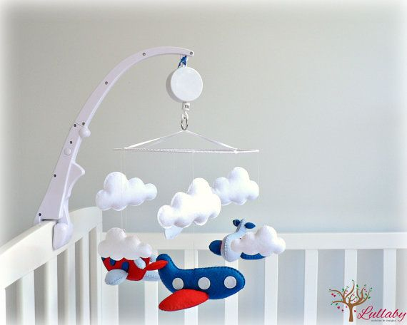 Musical airplane mobile - You pick your colors - Nursery Decor - Red, blue and white felt - custom made