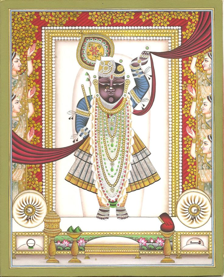 Shrinathji Krishna Pichwai Painting Handmade Hindu God Religios Miniature Art. You will delight in the richness and depth of this stunning piece of art depicting Shrinathji.  It's an art form that traces its origin to mythology — in the tale of Shrinathji or Krishna as a seven-year-old who lifted the Govardhan mountain to protect the people of Vrindavan from torrential rains.