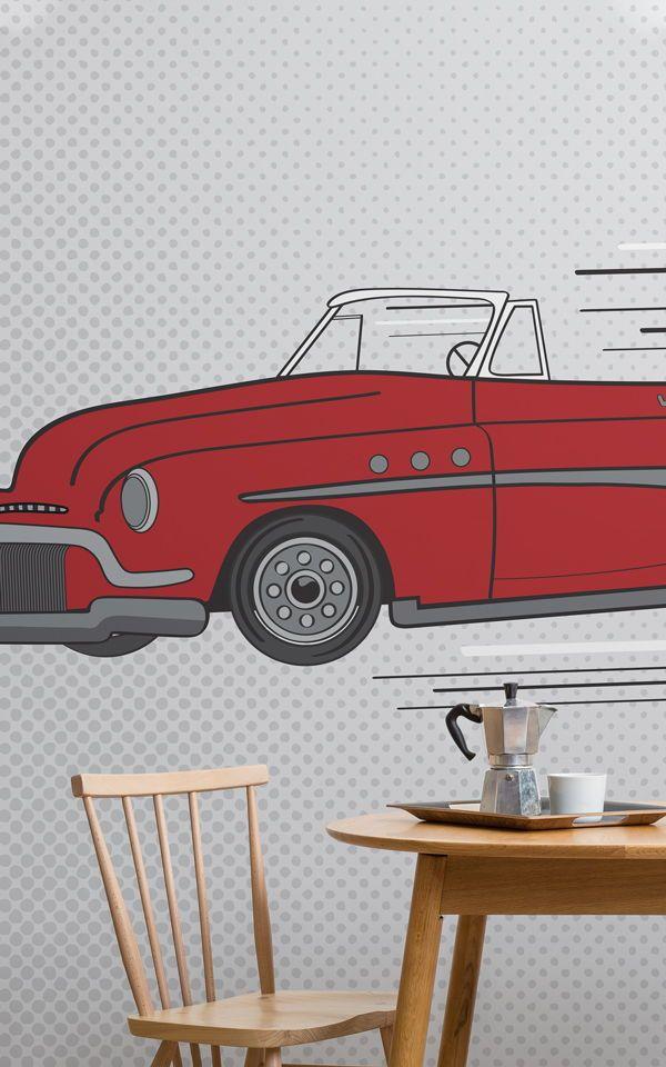 Carta Da Parati Moda.Carta Da Parati Auto Rossa Retro Pop Art Garage Design