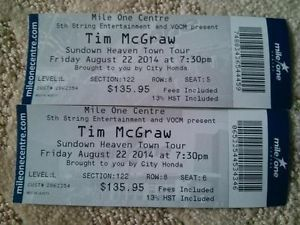 2 Tim McGraw tickets for Friday Nights SOLD OUT show , Unfortunately unable to attend to do Family reasons , Tickets were $135 each so would like to get back the Money I spent on them $270 is the asking price . The seats are in Level L SECTION 122 ROW 8 SEATS 5 AND 6 . CONTACT ME IF INTERESTED