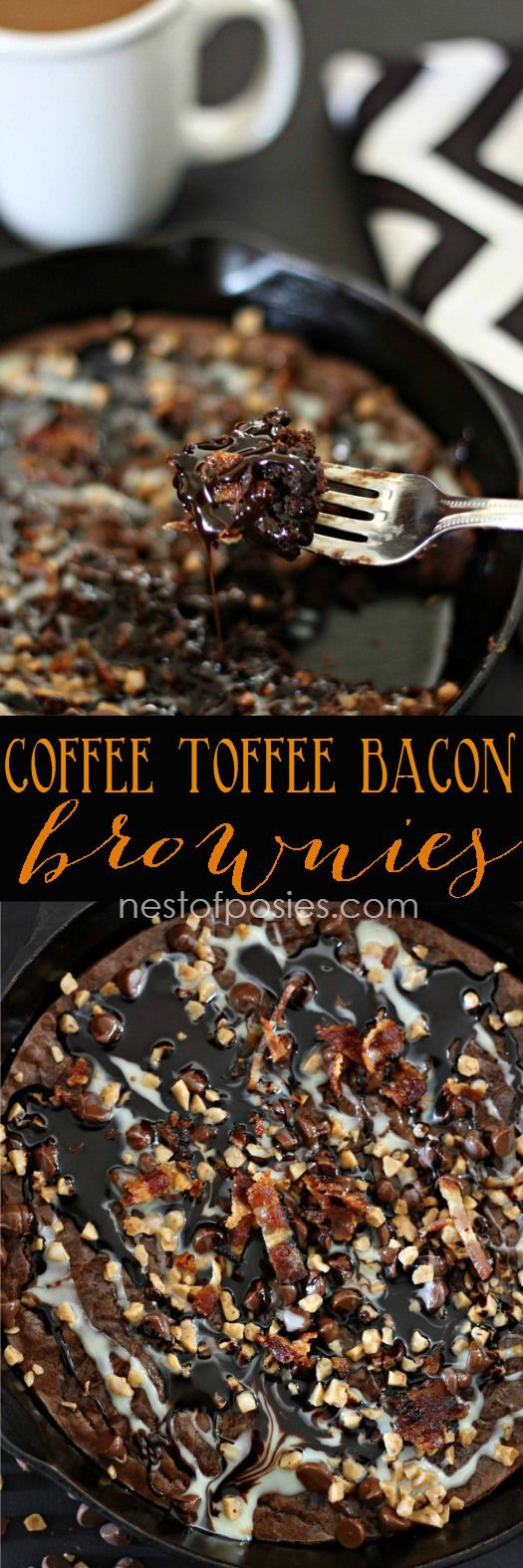 Coffee Toffee Bacon Brownies.  Made with a brownie mix + a few added ingredients.  So easy and delicious!