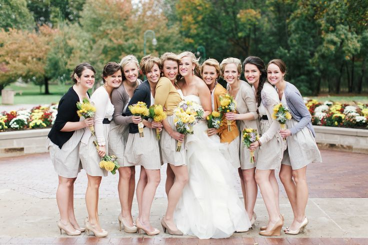 Autumn bridesmaids Fall Wedding at Sycamore Farm Bloomington