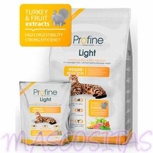 Profine Cat Light, receta natural de pavo y arroz, alimento completo para gatos formulado para cubrir las necesidades nutricionales de gatos con sobrepeso o necesidad de adelgazar.