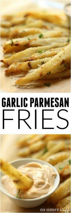 Baked Garlic Parmesan Fries with Spicy Aioli from SixSistersStuff.com | These Fries are BAKED, so you can feel a lot better about eating half the pan and they make a great side for that summer bbq!