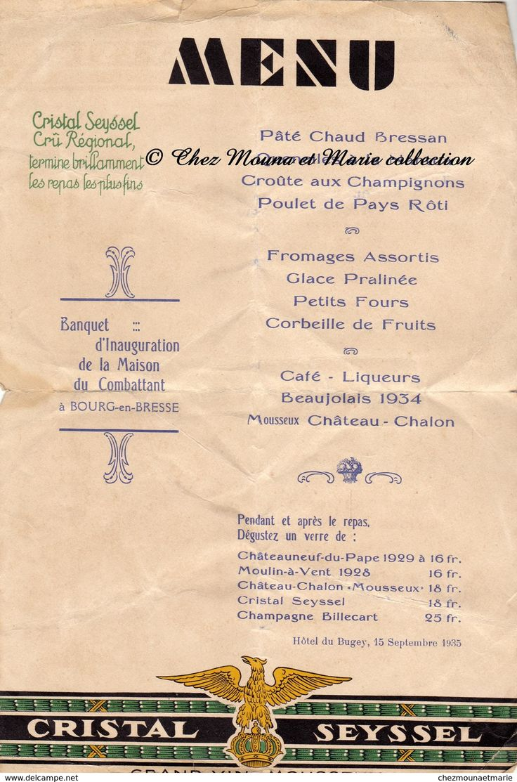 BOURG EN BRESSE 1935 - HOTEL DU BUGEY - BANQUET D INAUGURATION DE LA MAISON DU COMBATTANT - MENU CRISTAL SEYSSEL - AIN