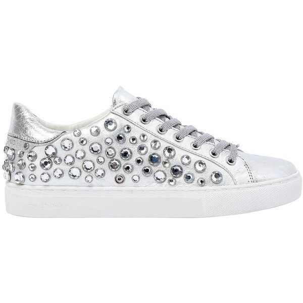 Crime Women 20mm Jeweled Metallic Leather Sneakers ($270) ❤ liked on Polyvore featuring shoes, sneakers, silver, jewel shoes, leather trainers, grommet shoes, jeweled shoes and leather upper shoes