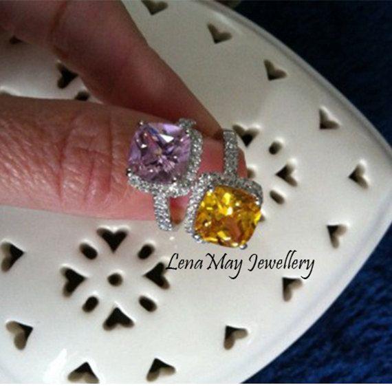 Sterling Silver 3ct diamond Cushion Cut Yellow by LenaMayJewelley