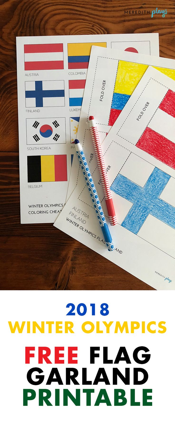 PyeongChang 2018 Winter Olympics Flag Garland Printable | Free Winter Olympics Activities for Kids | Winter Olympics Coloring Pages