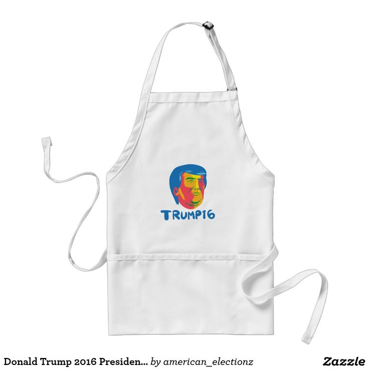 Donald Trump 2016 President Cartoon Adult Apron. Illustration showing head of American real estate magnate, television personality, politician and Republican 2016 presidential candidate Donald John Trump with words Trump 16 done in retro style. #Trump2016 #republican #americanelections #elections #vote2016 #election2016