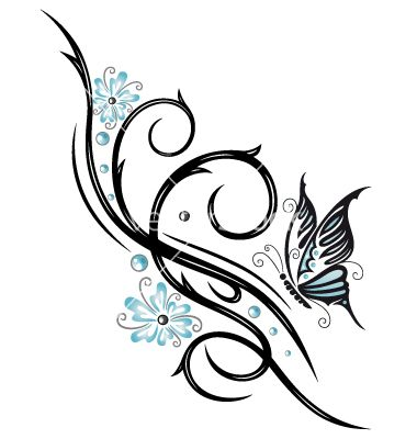 Tribal flower butterfly tattoo style vector 1534757 - by christine-krahl on VectorStock®