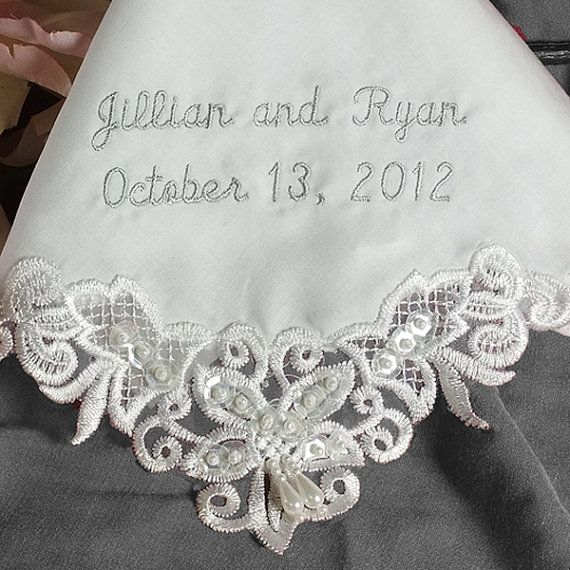 Wedding Handkerchief Custom Made Personalized. Ultra soft cotton, embellished with faux pearls and sequins makes an elegant bridal gift for bride, mother of the bride, mother of the groom and bridesmaids.  For more information visit Couture Wedding Hankie at www.etsy.com/shop/CoutureWeddingHankie
