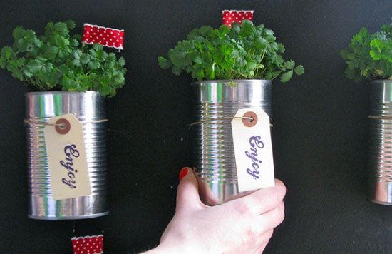 Plant Your Herbs in Tin Cans - Use them to plant your indoor herb garden! The cans would look cheerful lined up on a sunny windowsill, and each one would be easy to mark with a simple self-adhesive label. And when your herbs eventually fizzle out, as mine always do, just toss the whole thing — and restock your tin can supply next time you grocery shop.: Ideas, Craft, Wedding, Herbs Garden, Tin Cans, Diy