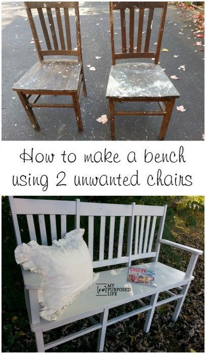 Now THIS is a great DIY project! If you have old wooden chairs, you can put them together to make a bench for your backyard. It may take some work, but with some extra wood, tools and paint, you can create a great piece for your home.