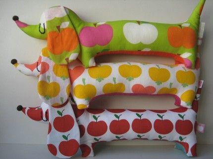 Mini Dachshund pillows.