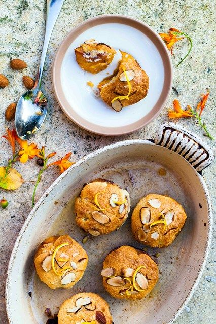 Hemsley & Hemsley: Roasted Frangipane Peaches Recipe (Vogue.com UK) - try with a different fruit?