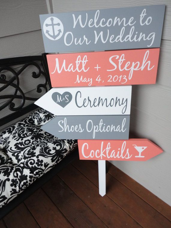 Beach Wedding Signs. Five Customized Directional Signs with Arrows with Bride and Grooms Names/Date. Wedding Ceremony, Event or Celebration.
