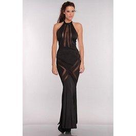 Long Black Elegant Mesh Cutout Hollywood Starlet Gown