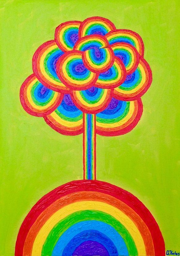Tree 50#70 Oil, Canvas #tree #colorful #positivism #rainbow #positivismart #olgakeles #modern #beautiful #painting #green #landscape