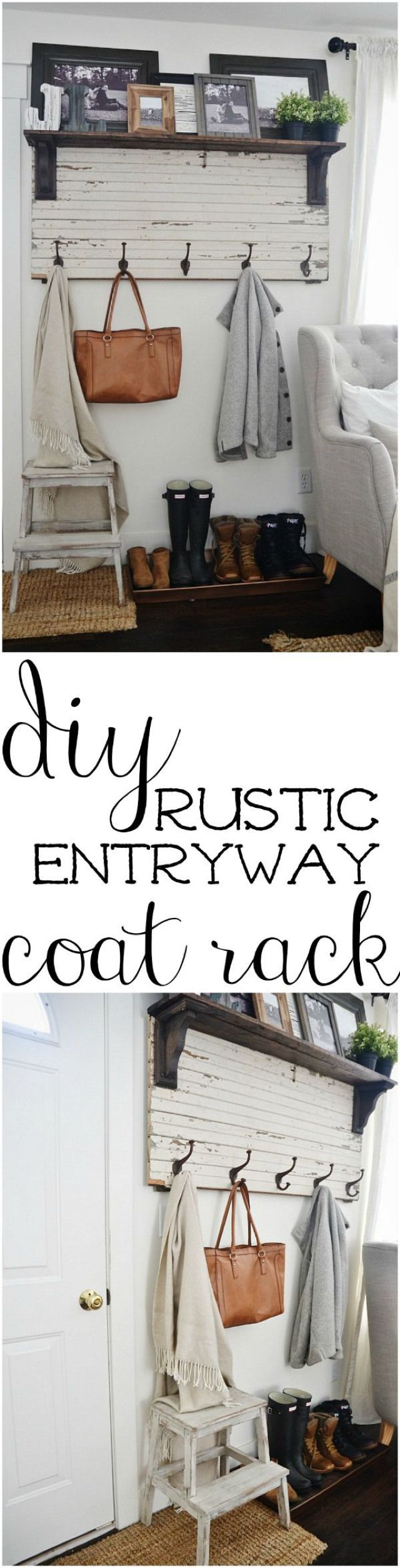 Give your coats a place to rest with a DIY rustic entryway coat rack.