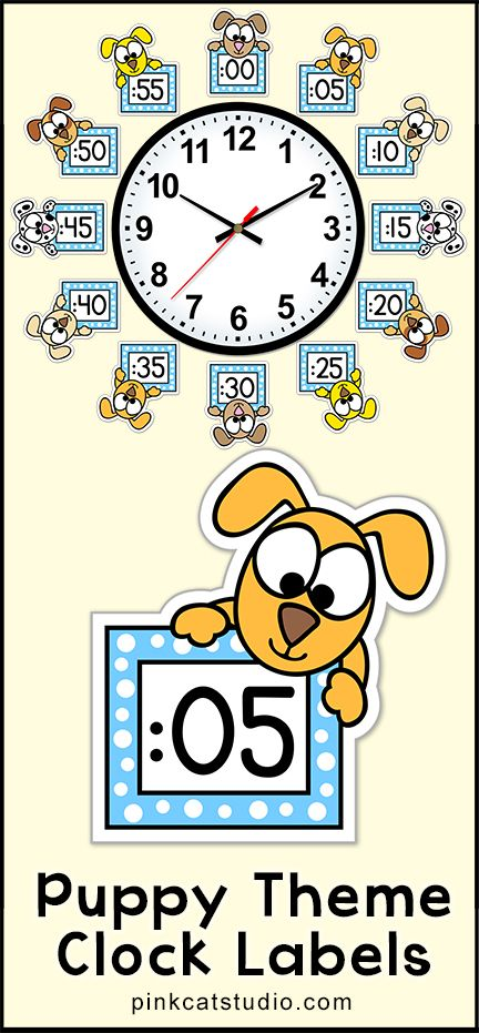 These fun puppy theme clock labels will look fantastic around your classroom clock! The polka dot frames and silly dog characters are sure to inspire your students to practice telling time. Worksheets are also included. By Pink Cat Studio.