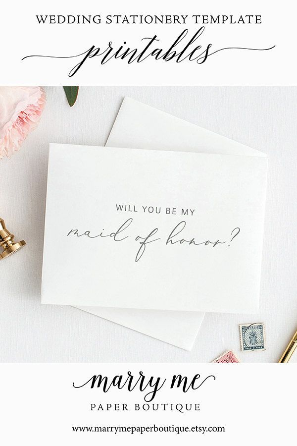 Will You Be My Maid of Honor Card, Printable Maid of Honor Template ...