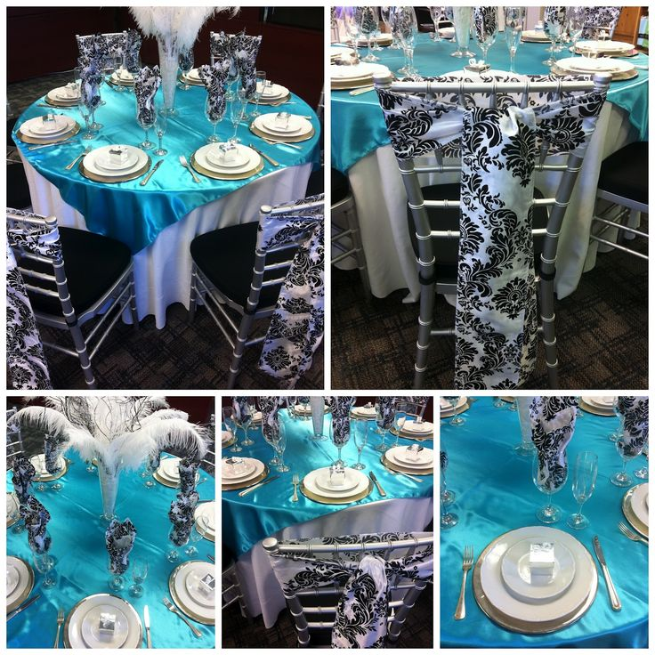 Aqua And Black Wedding Table Settings