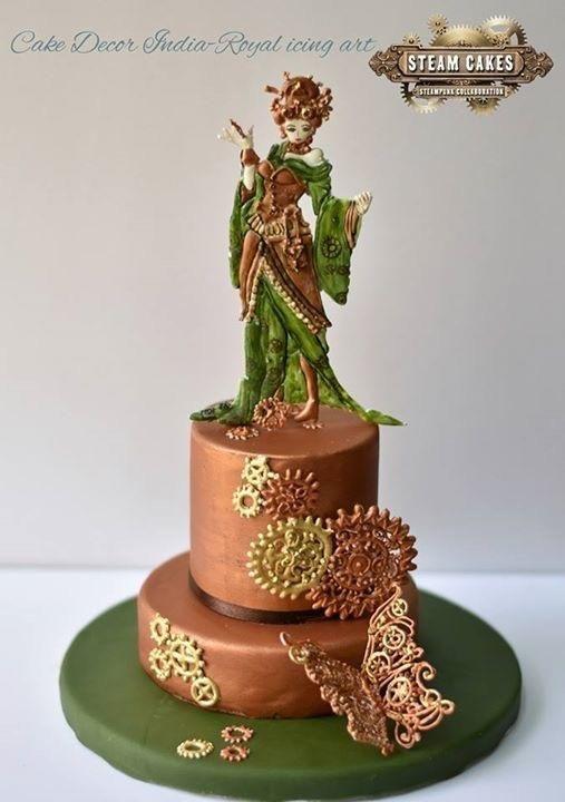 Steampunk lady - Cake by Prachi Dhabaldeb