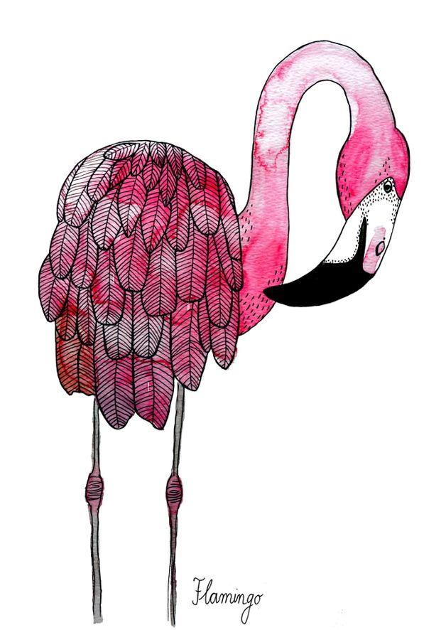 Kunstdruck mit Flamingo Illustration, pink / flamingo print, pink lover, tropical by Frau Ottilie via DaWanda.com