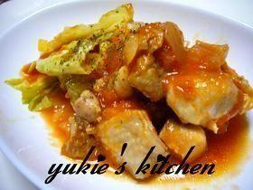 「鶏肉とキャベツのトマト煮♪」難しくないよ♪ちゃちゃっと煮詰めるだけ〰メチャウマだよ♡【楽天レシピ】