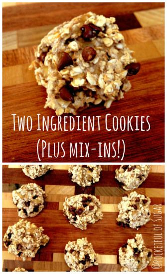 Two Ingredient Cookies... We love making these. Buy some discounted, ripe bananas at the store, add some oatmeal and you're set. We don't add anything in ours... We just keep it simple. :)