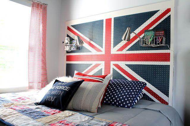 pegboard headboard: Tiny Bedrooms, Ideas, Dorm Room, Pegboard Headboards, Unionjack, Peg Boards, Diy Headboards, Boys Room, Union Jack
