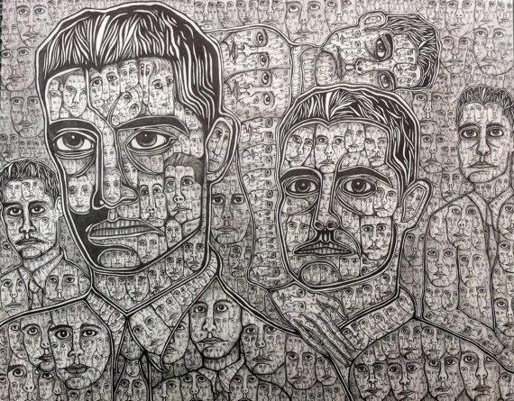 Psychedelic Drawing of Faces Print Black and White by JoelieDraws