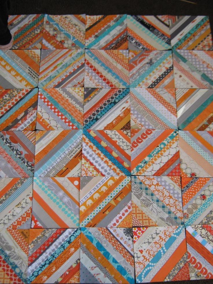 modern strings quilt top