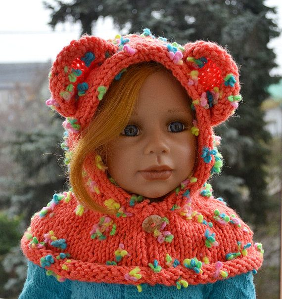 Knitted  hood  bear scarf  orange and rainbow  bear by DosiakStyle