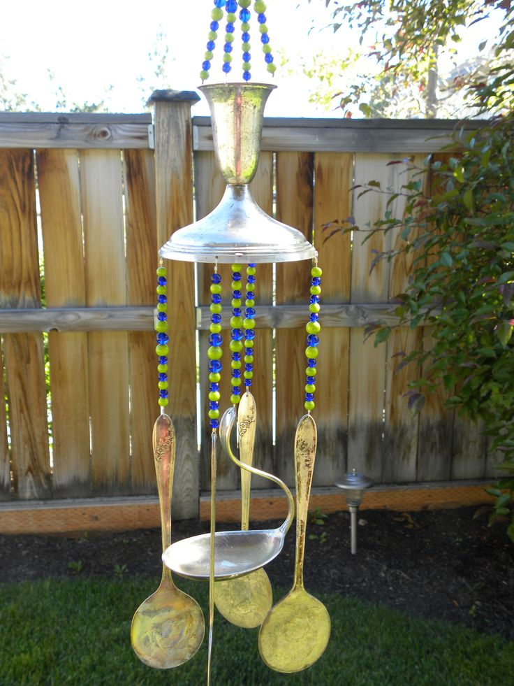 Wind chime with assorted whimsical silver pieces - rustic garden art - lime green cobalt blue - vintage flatware - glass beads silver spoons