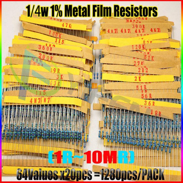 1280 pcs Resistor Kit 0.25 W 64 nilai X 20 pcs Resistencias Resistor Pack Logam Film Resistance 1 Ohm-10 M Ohm 1/4 W Film Logam Set