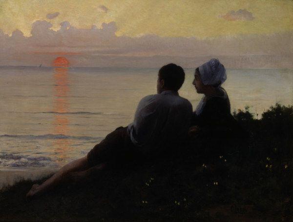Charles Amable Lenoir - Un couple admirant le coucher du soleil