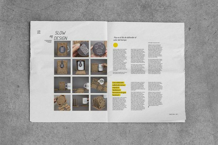 Diseño editorial y gráfico de newsletter para el estudio de diseño HOY ES EL DÍA. Impreso en papel periódico. Press, news, sostenible.