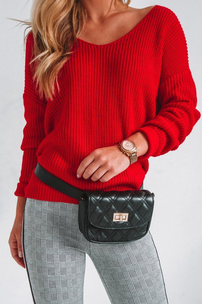 7b22354872 This bright red sweater is perfect for fall and can transition into winter  for Christmas!  cozysweater  fallsweater
