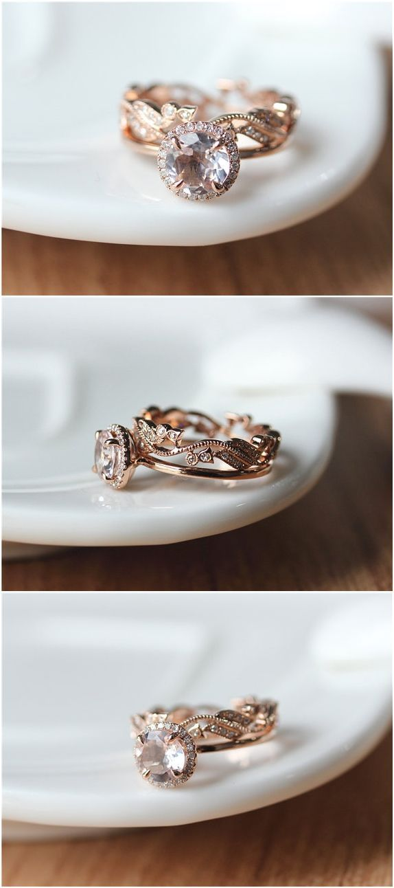 Two Rings--- 7mm Round Halo Morganite Ring Set Rose Gold/Dainty 14k Rose Gold Morganite Engagement Ring/Morganite Ring Set/Wedding Ring set
